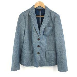 Talbots Wool Blend Blazer Blue Heathered